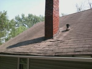 Chimney Shingle Damage